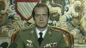 Juan Carlos I. bei seiner Fernsehansprache: Rückkehr zur rechtmäßigen demokratischen Ordnung. RTVE